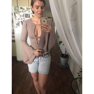 SHEIN Bell Sleeve Backless Mauve Bodysuit